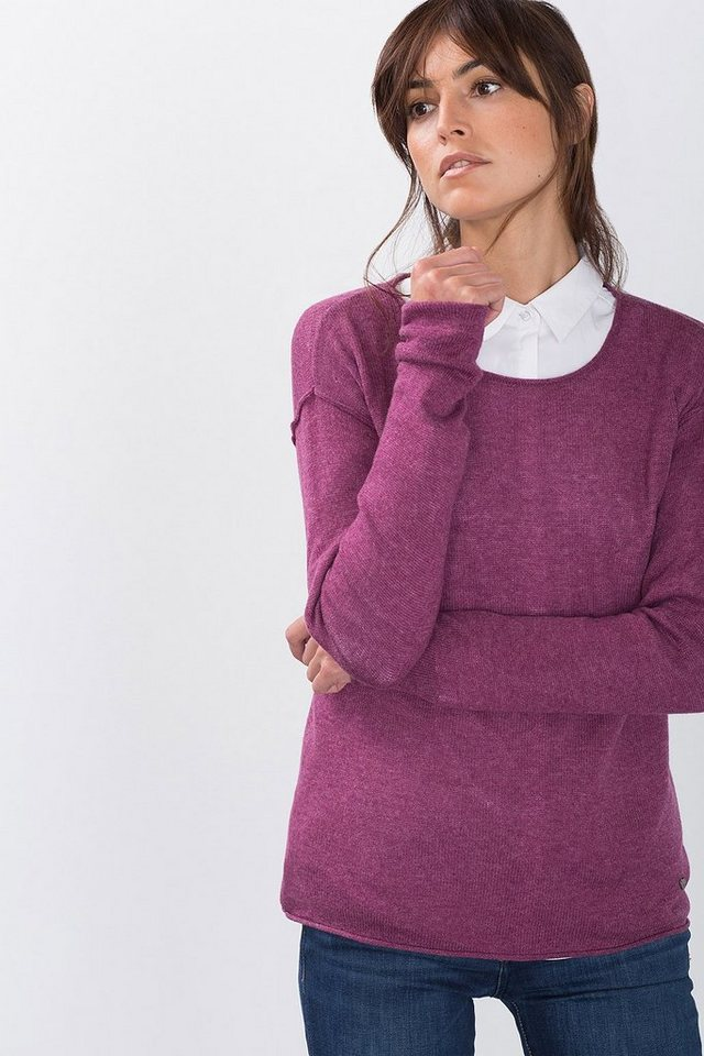 ESPRIT CASUAL Pulli mit Inside-Out-Nähten, Cashmere-Mix in PLUM RED