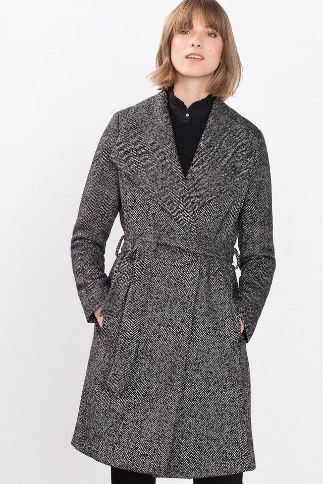 ESPRIT COLLECTION Tweed Mantel mit XL-Kragen in BLACK