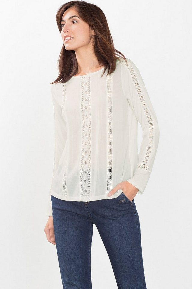 ESPRIT CASUAL Blusen-Shirt mit Spitzen-Details in OFF WHITE