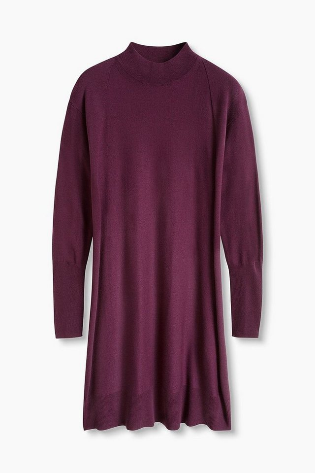 ESPRIT CASUAL Feinstrick-Kleid mit Turtleneck in PLUM RED