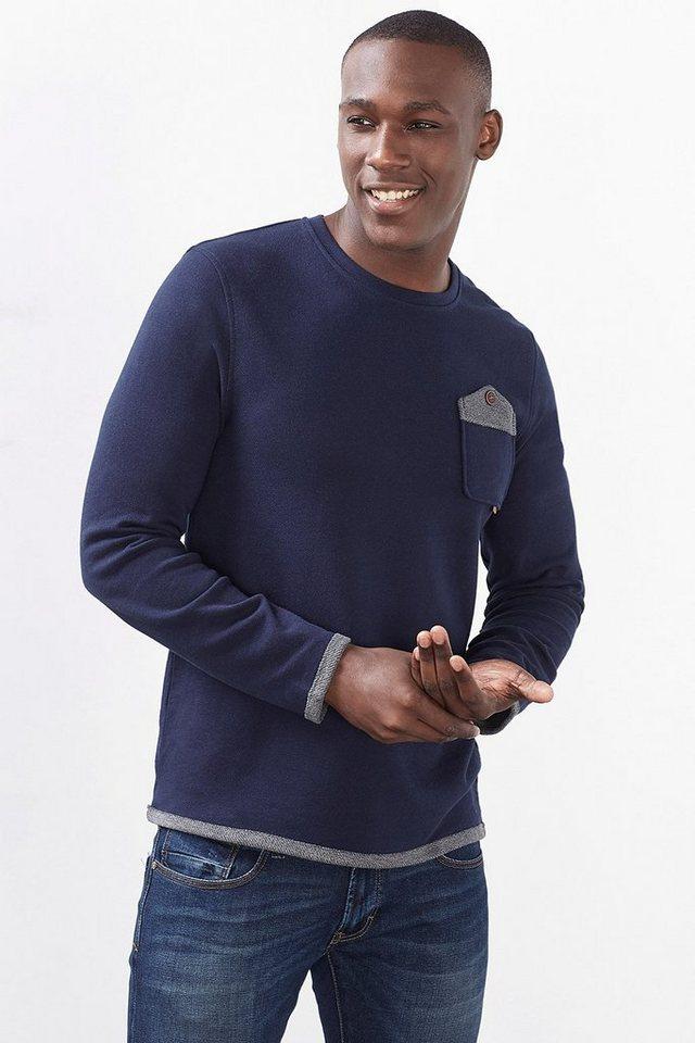 EDC Sweatshirt mit Umschlagbündchen in NAVY