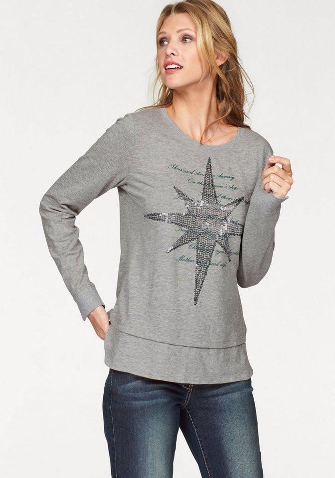 Cheer 2-in-1-Shirt in grau-meliert