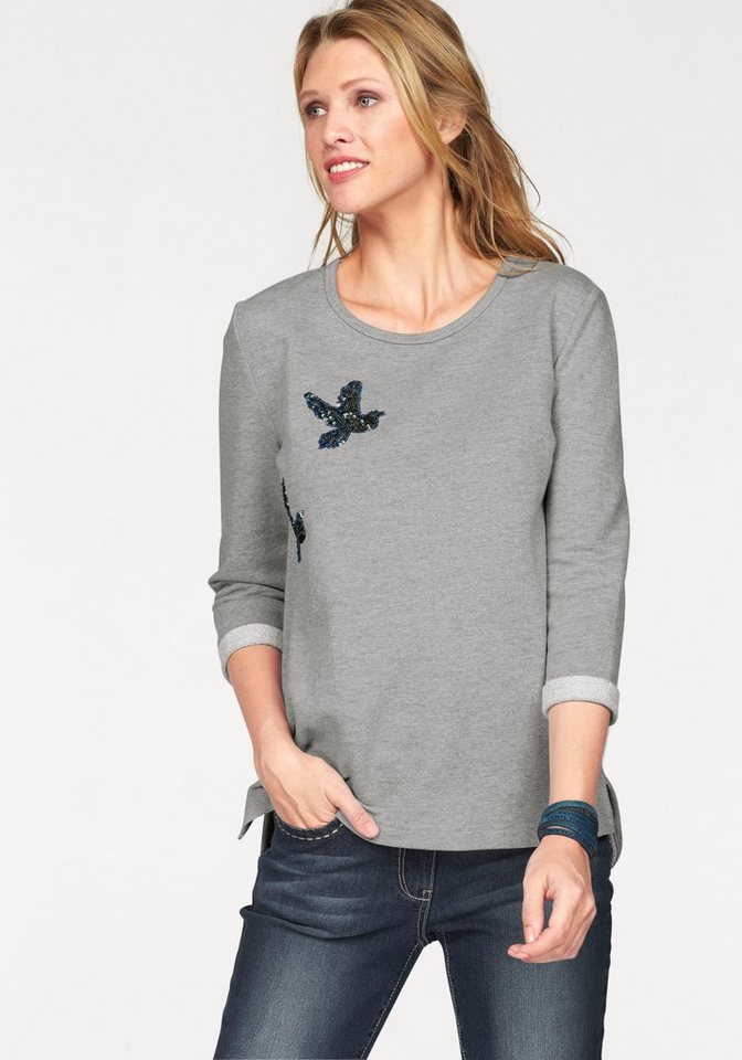 Cheer Sweatshirt im Vokuhila-Style in grau-olivgrün-blau