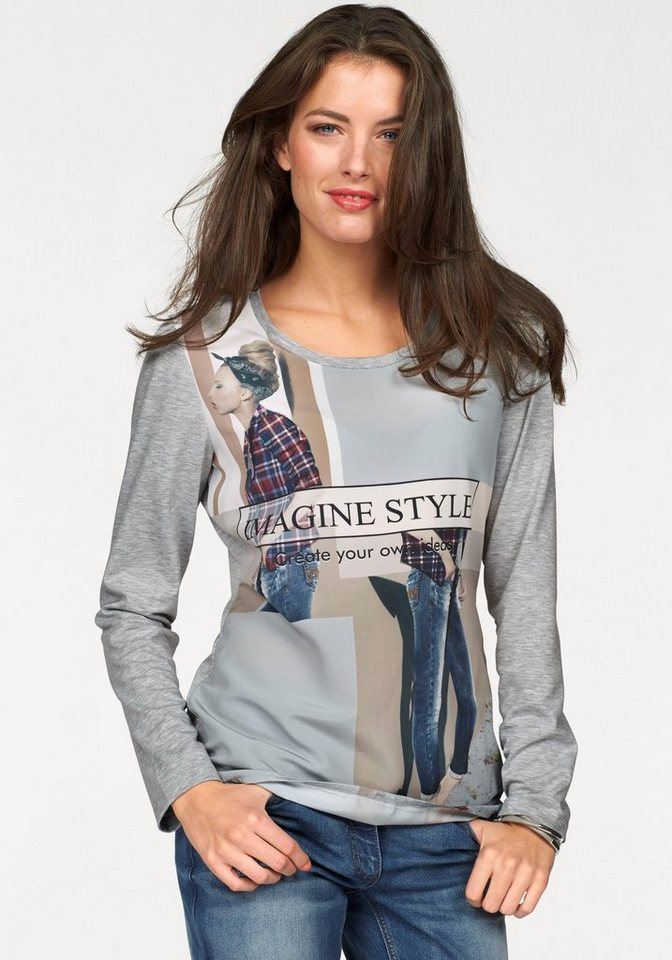 Aniston Langarmshirt in grau