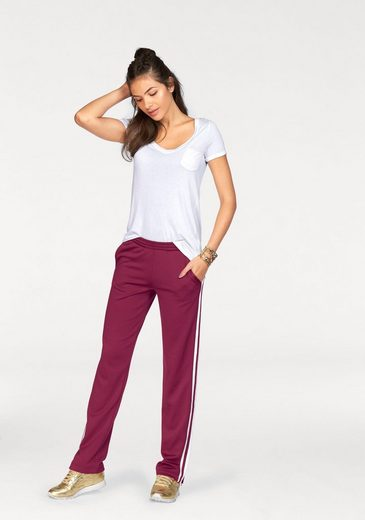 Ajc Sweat Pants, Striped With Side Zipper And At The Hem