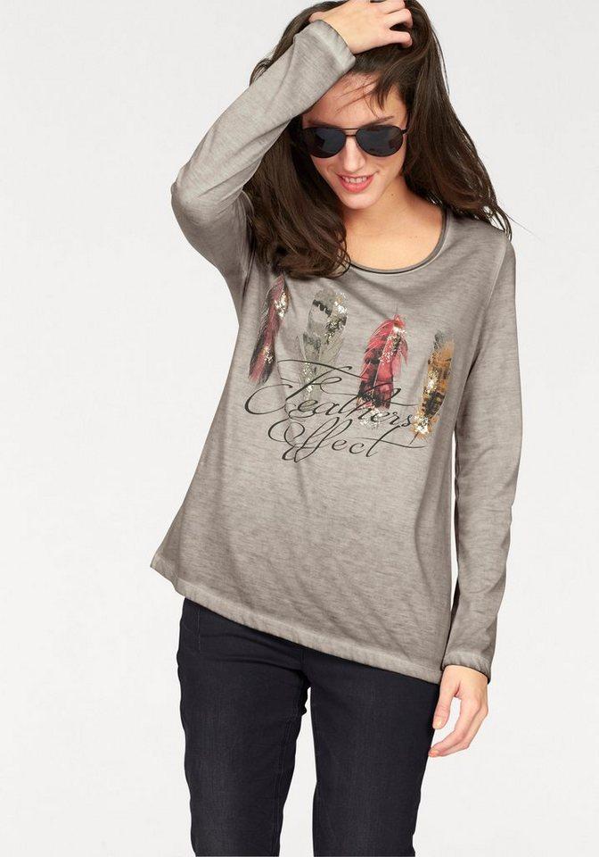 Aniston Langarmshirt in sand-rot-grau-braun-lila