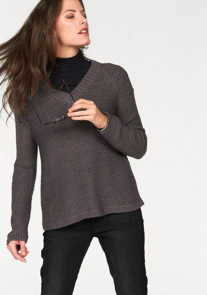 Aniston Strickpullover mit Linksstrick in grau