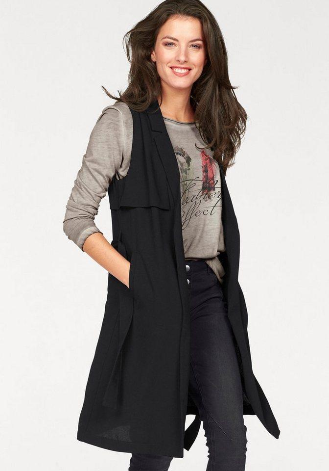 Aniston Longweste im 2-in-1-Look in schwarz
