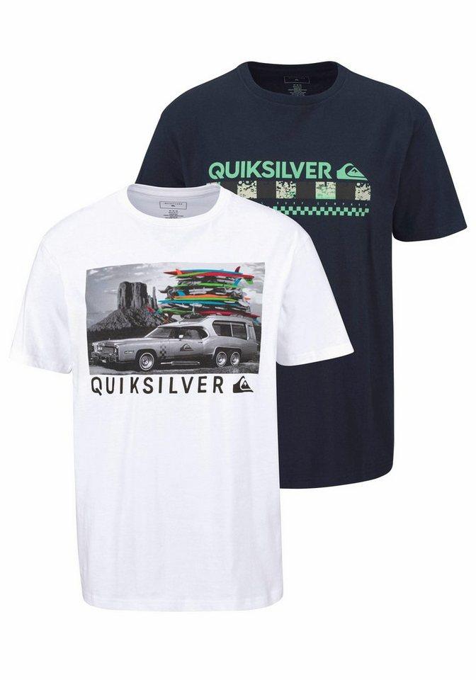Quiksilver T-Shirt in weiß+marine