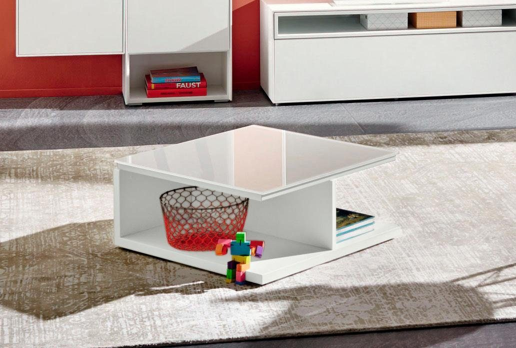 now! by hülsta Couchtisch »CT 18« zeitloses Design in Lack weiß mit Glasplatte