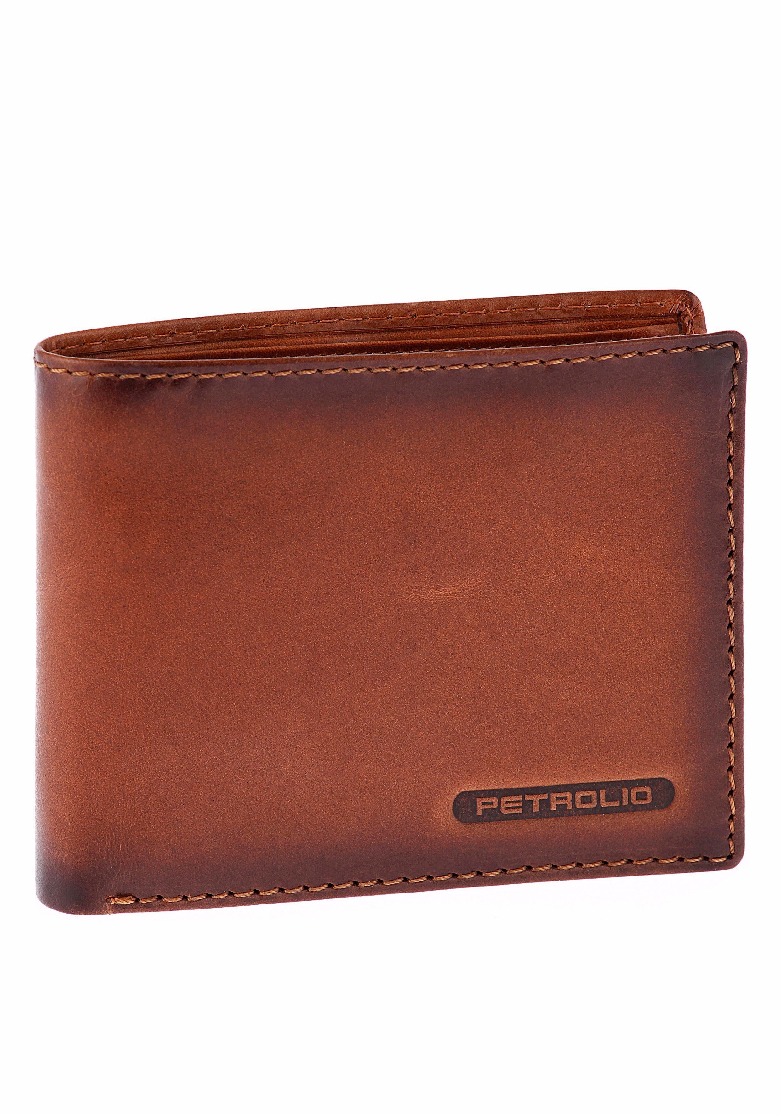 PETROLIO Geldbörse, aus Leder im leichten Used Look in Geschenkbox