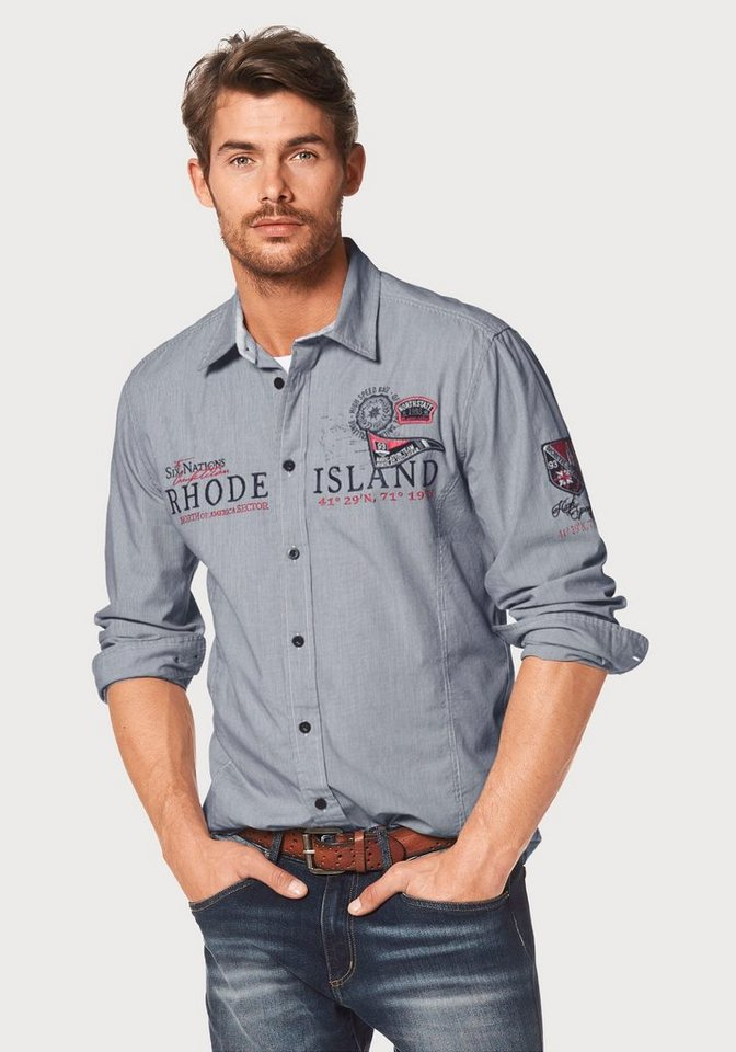 Rhode Island Hemd in hellblau-gestreift