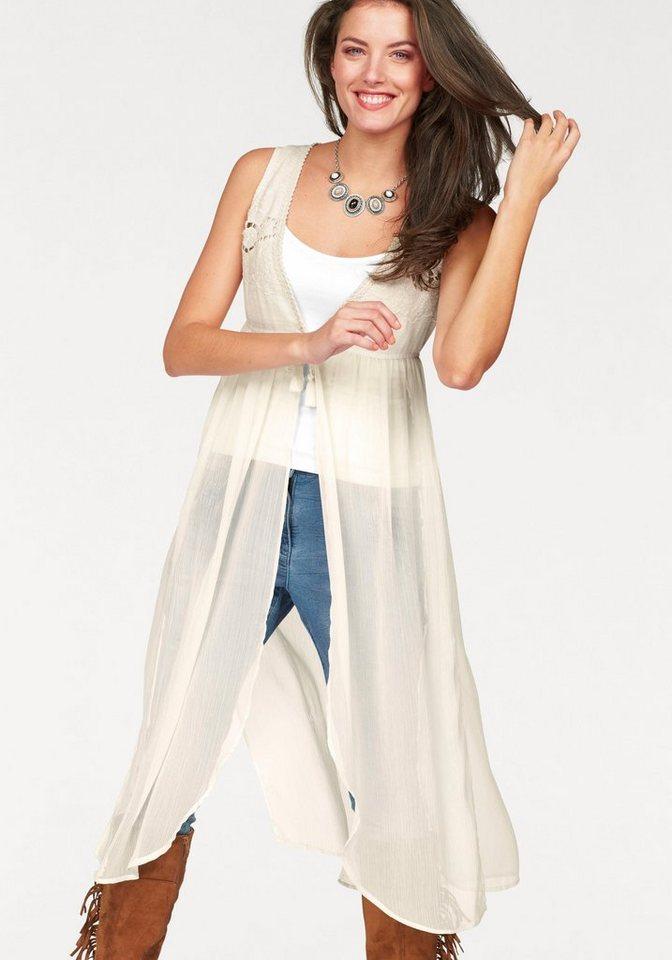 Aniston Chiffonbluse mit Lochstickerei in wollweiß