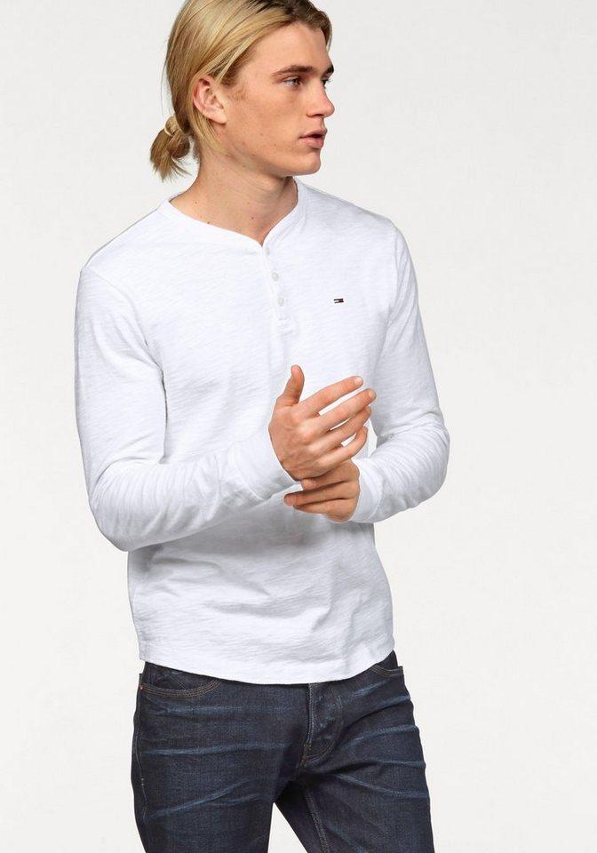 Hilfiger Denim Henleyshirt »CM HENLEY L/S 10« mit dezenter Struktur in weiß