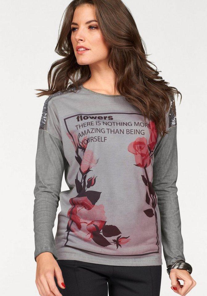 Vivance Langarmshirt mit Paillettenverzierung in grau-rot-braun