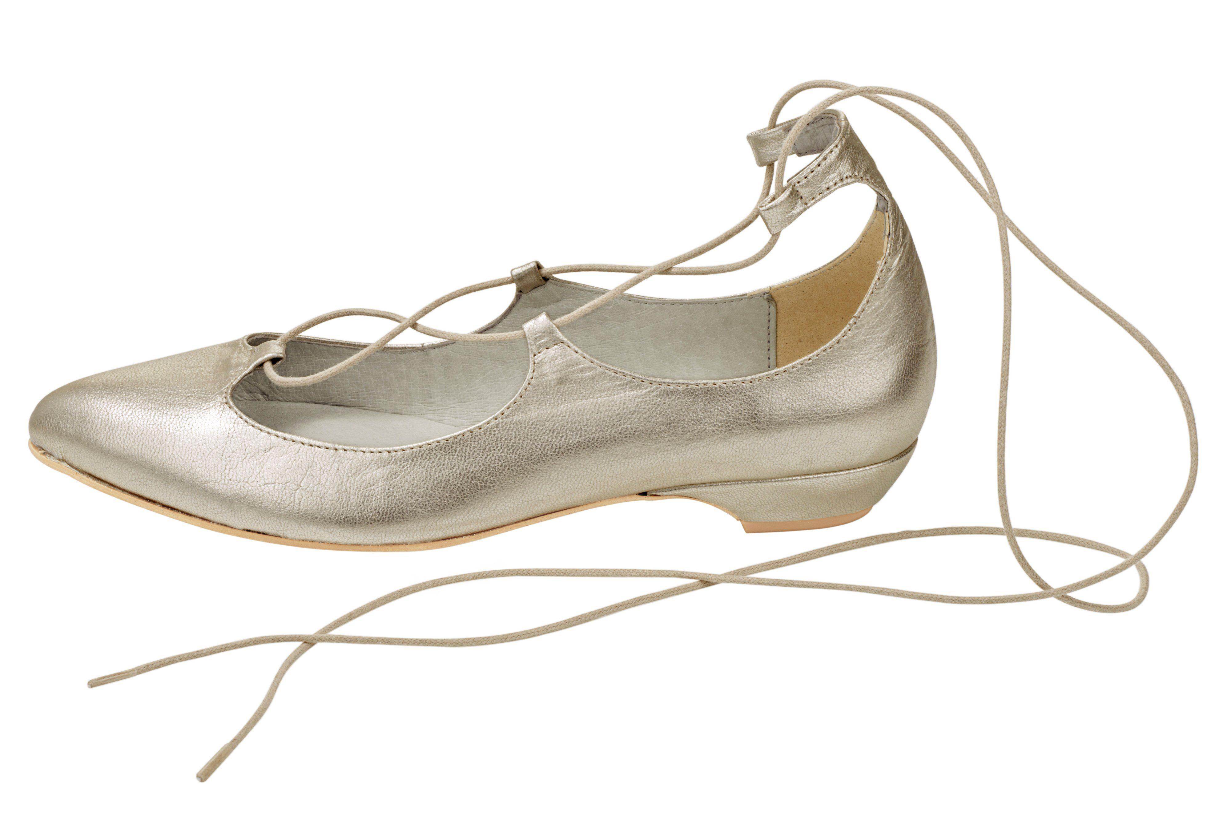 Heine Ballerina mit Schnürung online kaufen  champagner#ft5_slash#metallic