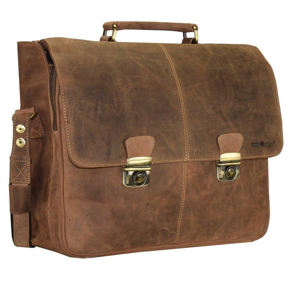Greenburry Vintage Aktentasche Leder 42 cm Laptopfach in braun