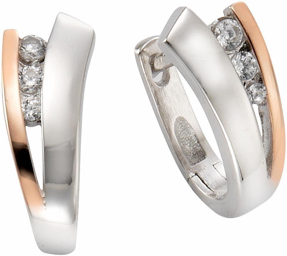 Firetti Paar Creolen mit Zirkonia in Silber 925-roségoldfarben