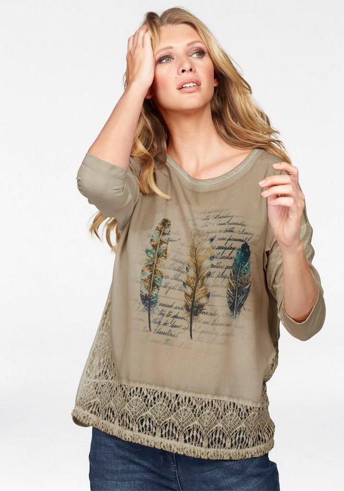 Tamaris Rundhalsshirt mit Spitzeneinsatz in sand-beige-schwarz-grün-petrol