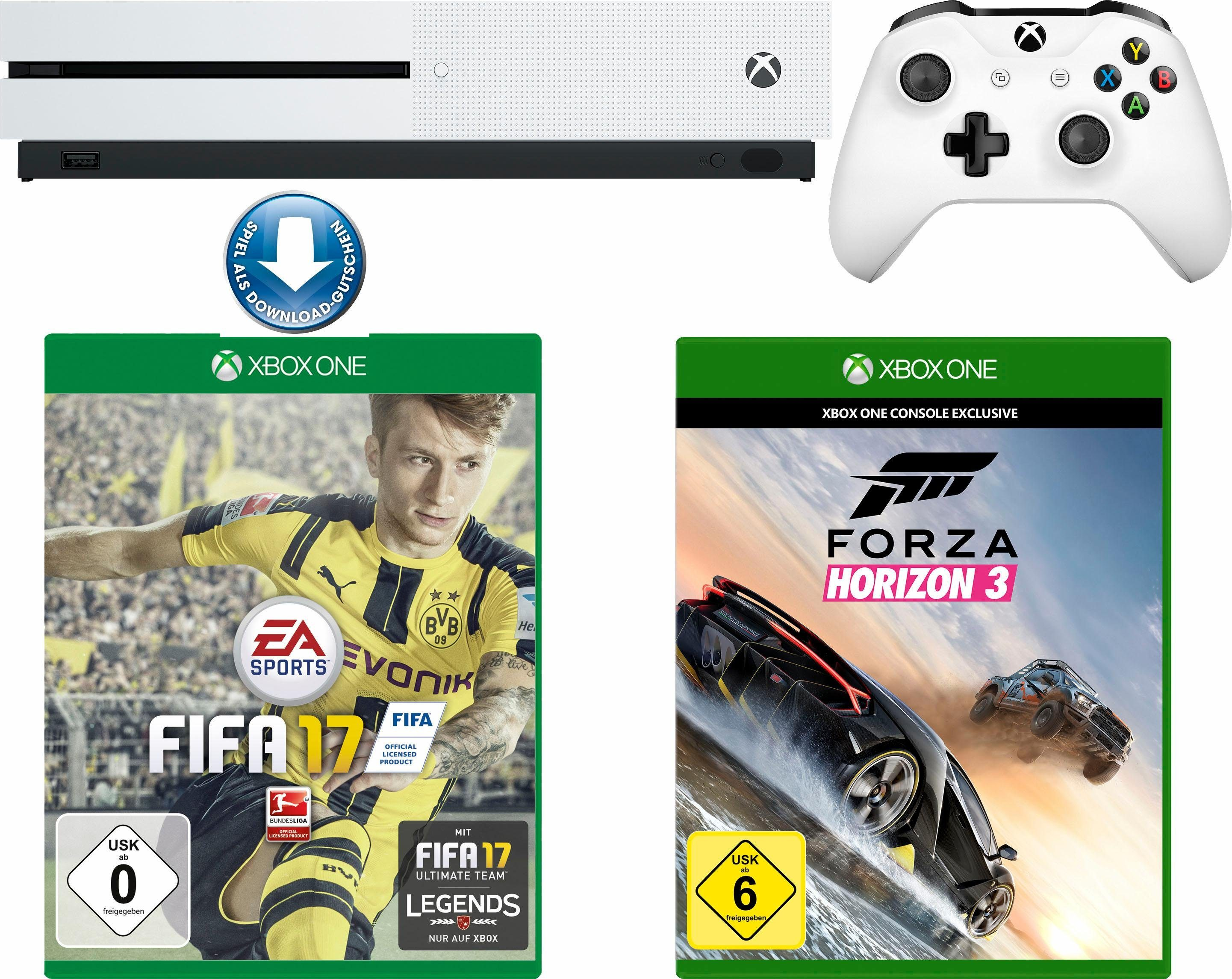 Xbox One S 500GB + Fifa 17 (DLC) + Forza Horizon 3, 4K Ultra HD
