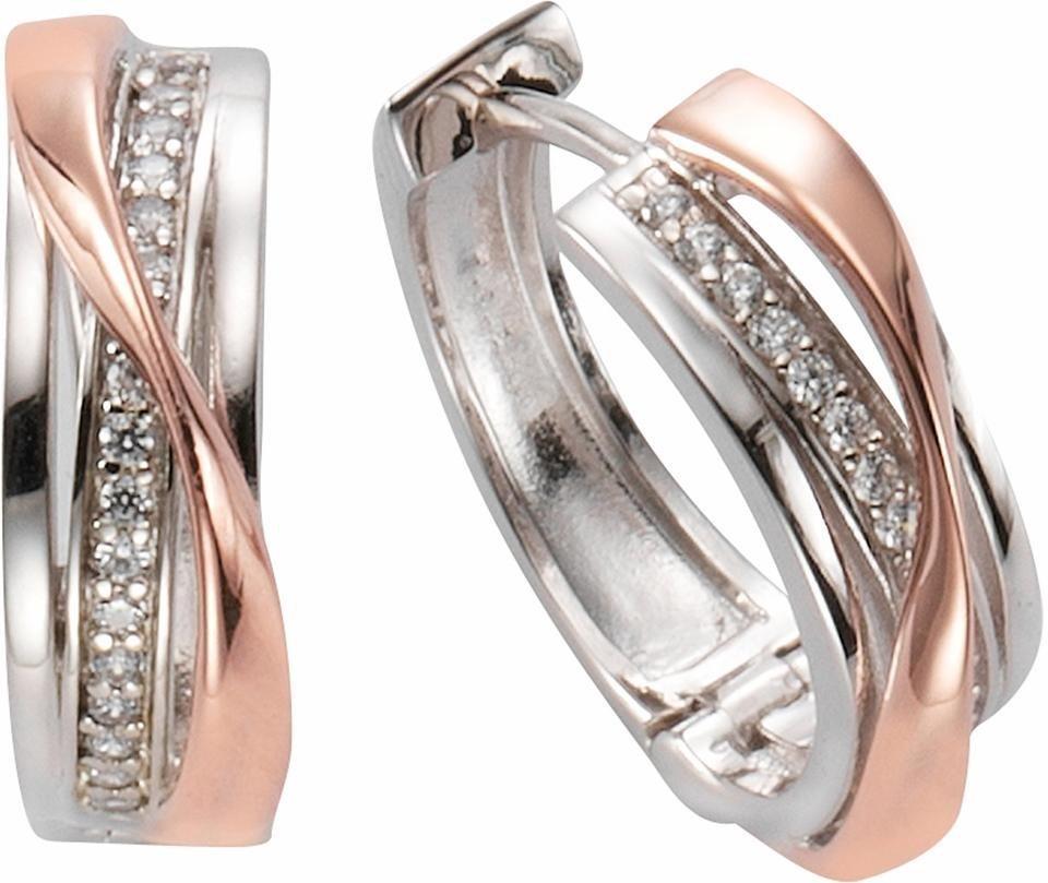 Firetti Paar Creolen mit Zirkonia in Silber 925-silberfarben-roségoldfarben