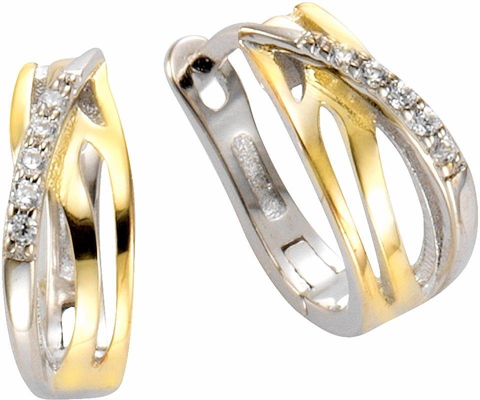 Firetti Paar Creolen mit Zirkonia in Silber 925-silberfarben-goldfarben