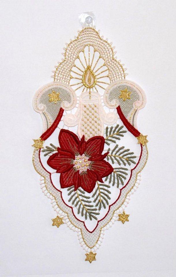Fensterbild, Stickereien Plauen, »Kerzenschein« in weiß/rot