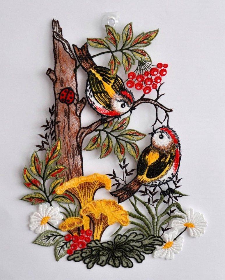 Fensterbild, Stickereien Plauen, »Vögel im Wald« in bunt