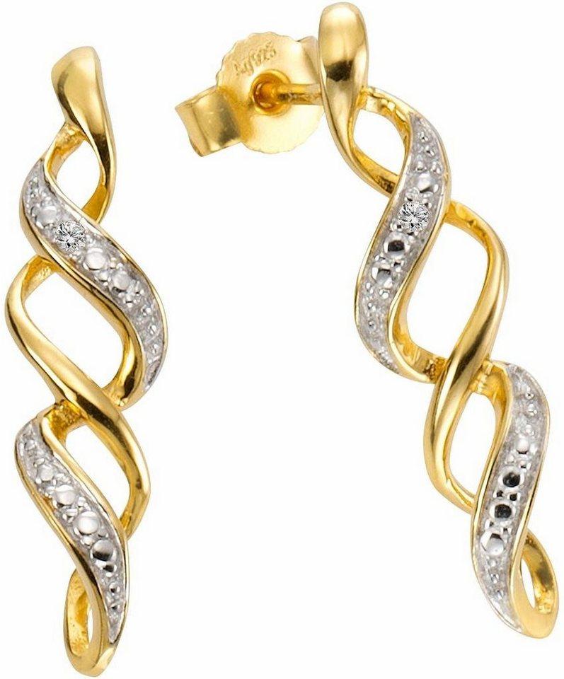 Firetti Paar Ohrstecker mit Diamanten in Silber 925-goldfarben