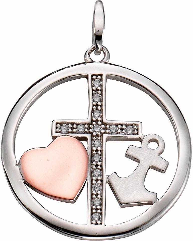 Firetti Kettenanhänger »Glaube, Liebe, Hoffnung« mit Zirkonia in Silber 925-silberfarben-roségoldfarben