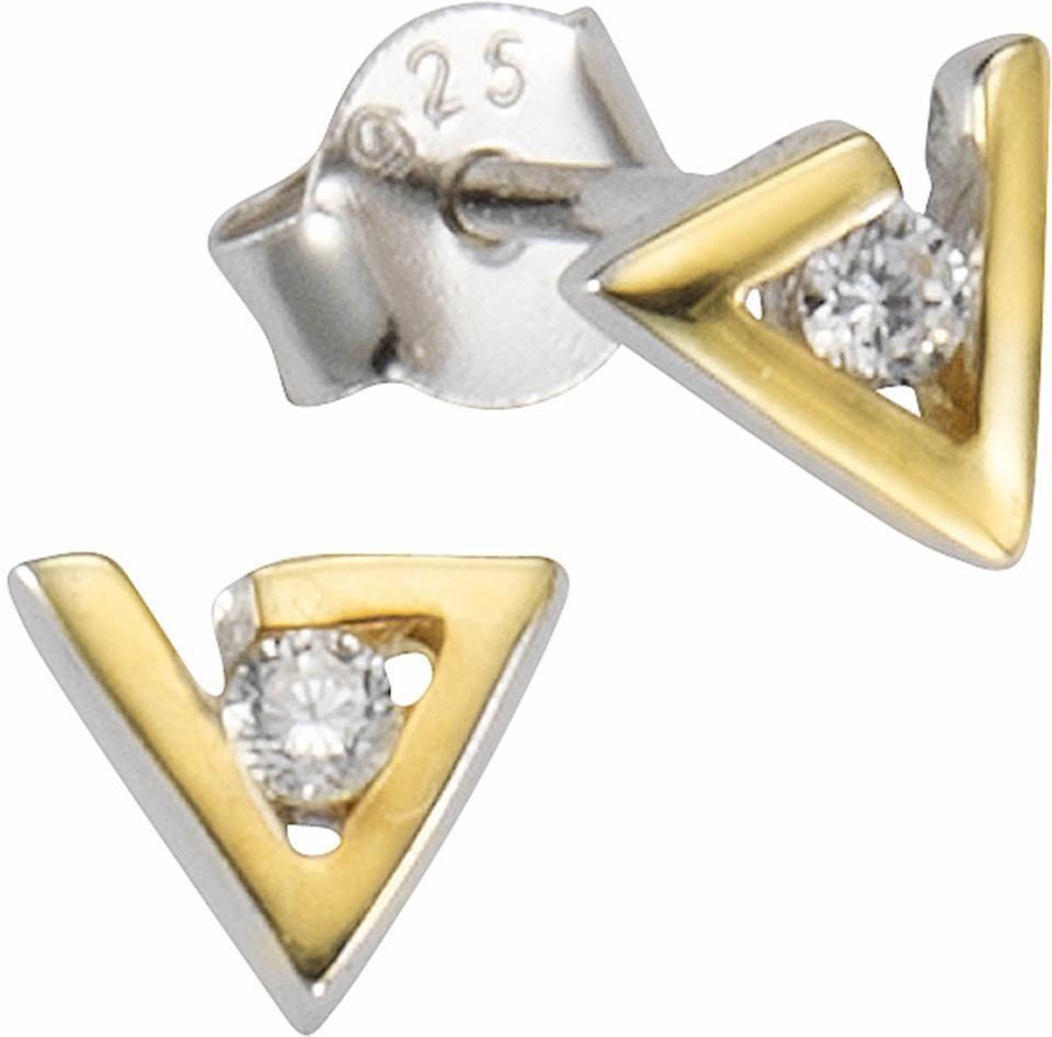 Firetti Paar Ohrstecker »Dreieck« mit Zirkonia in Silber 925-silberfarben-goldfarben