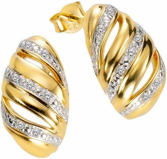 Firetti Paar Ohrstecker »gedrehte Optik, bicolor«, mit Diamanten