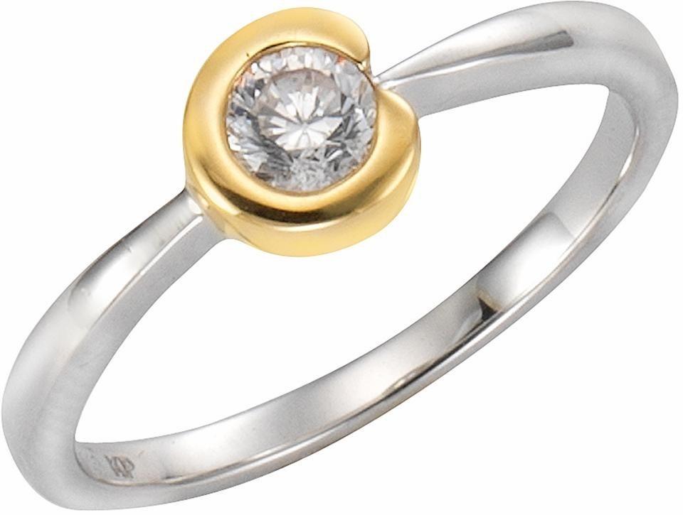 Firetti Fingerring mit Zirkonia in Silber 925-goldfarben
