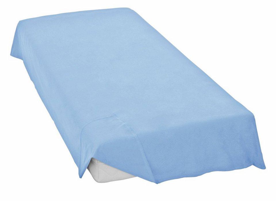 Bettlaken, Irisette, »Feinbiber-Haustuch Merkur«, ohne Gummizug in blau