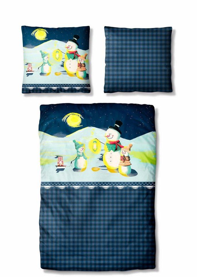 Bettwäsche, Auro Hometextile, »Shiny Snowman«, leuchtend in dunkelblau