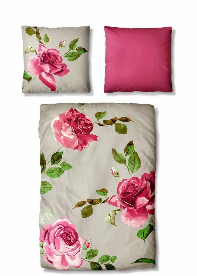 Bettwäsche, Auro Hometextile, »Lexy«, mit Blüten in natur