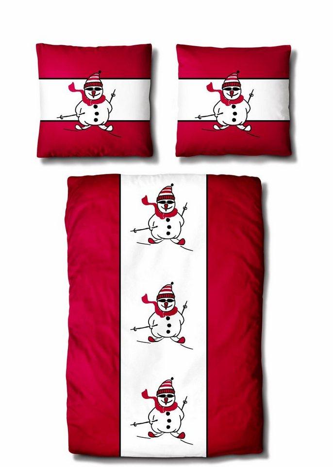 Bettwäsche, Auro Hometextile, »Sporty Snowman«, mit Schneemann in rot