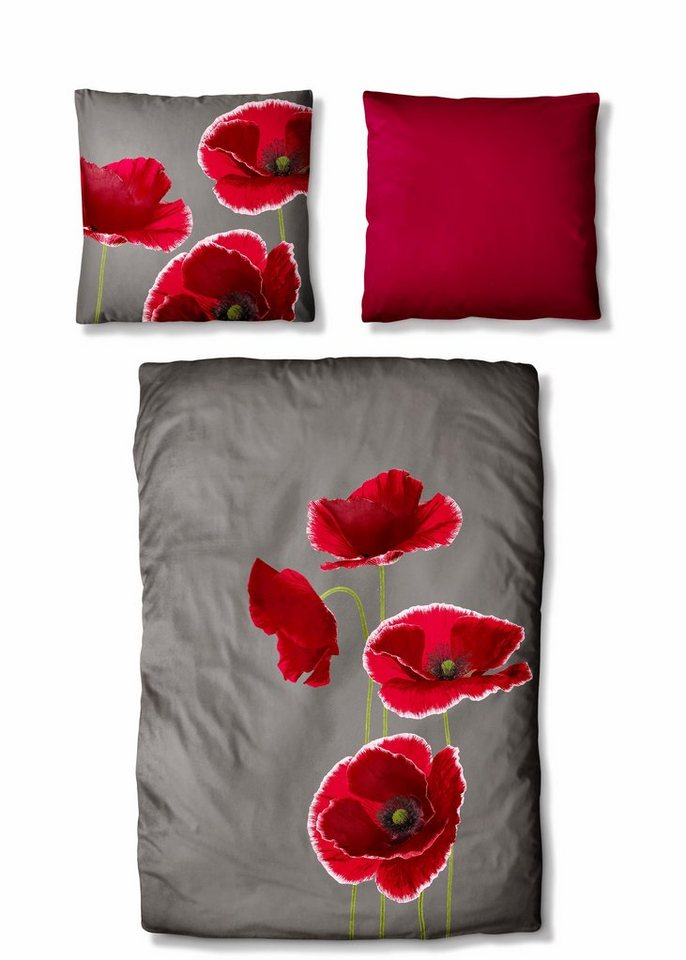 bettw sche auro hometextile ellie mit gro en blumen. Black Bedroom Furniture Sets. Home Design Ideas
