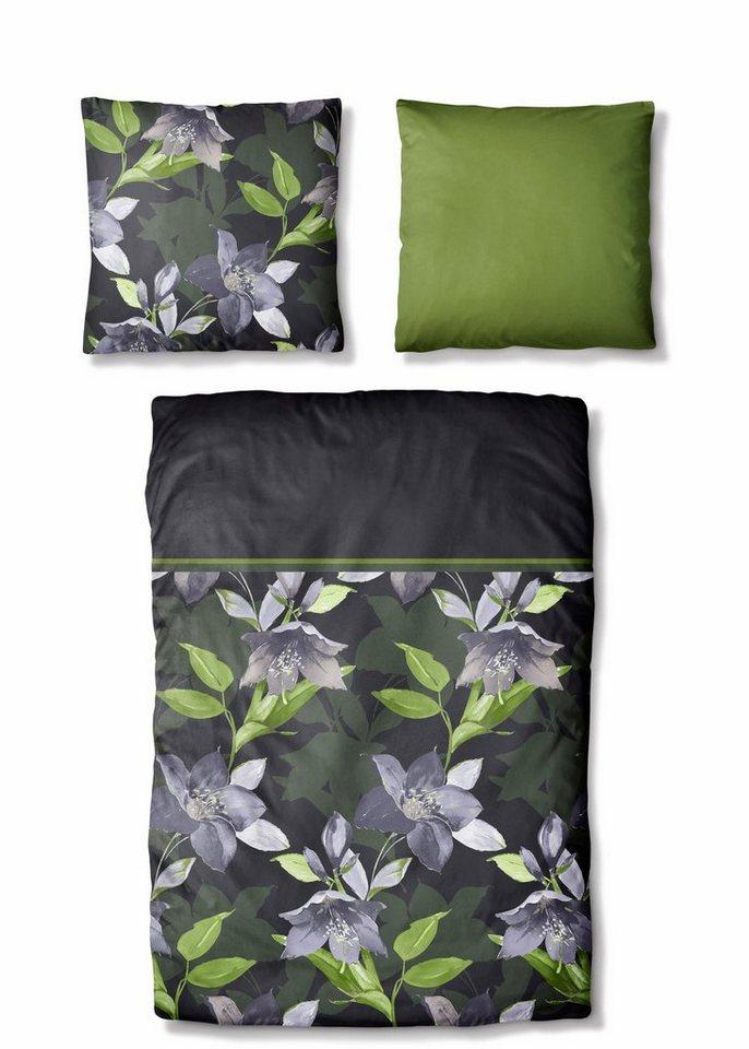 Bettwäsche, Auro Hometextile, »Hedge«, mit Blüten in anthrazit-grün