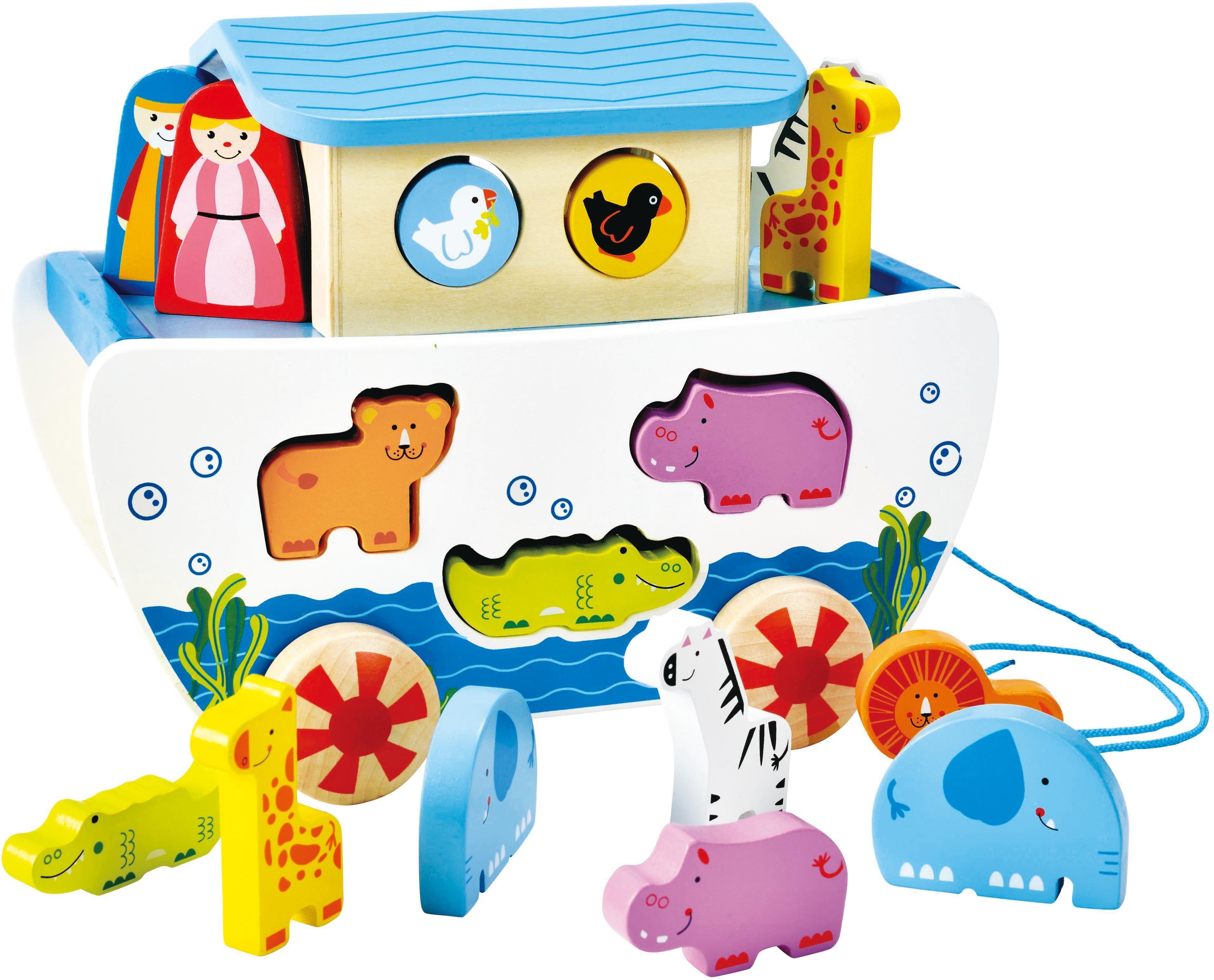 Hape Nachziehspielzeug mit Holztieren, »Nachzieh-Arche«