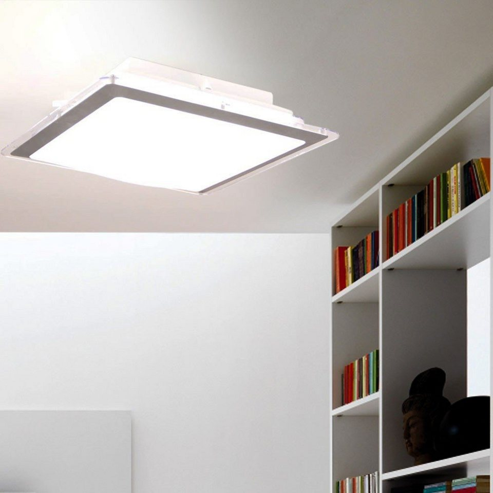 Licht-Trend Deckenleuchte »Quadras LED-Deckenleuchte mit Acrylrand« in Silber
