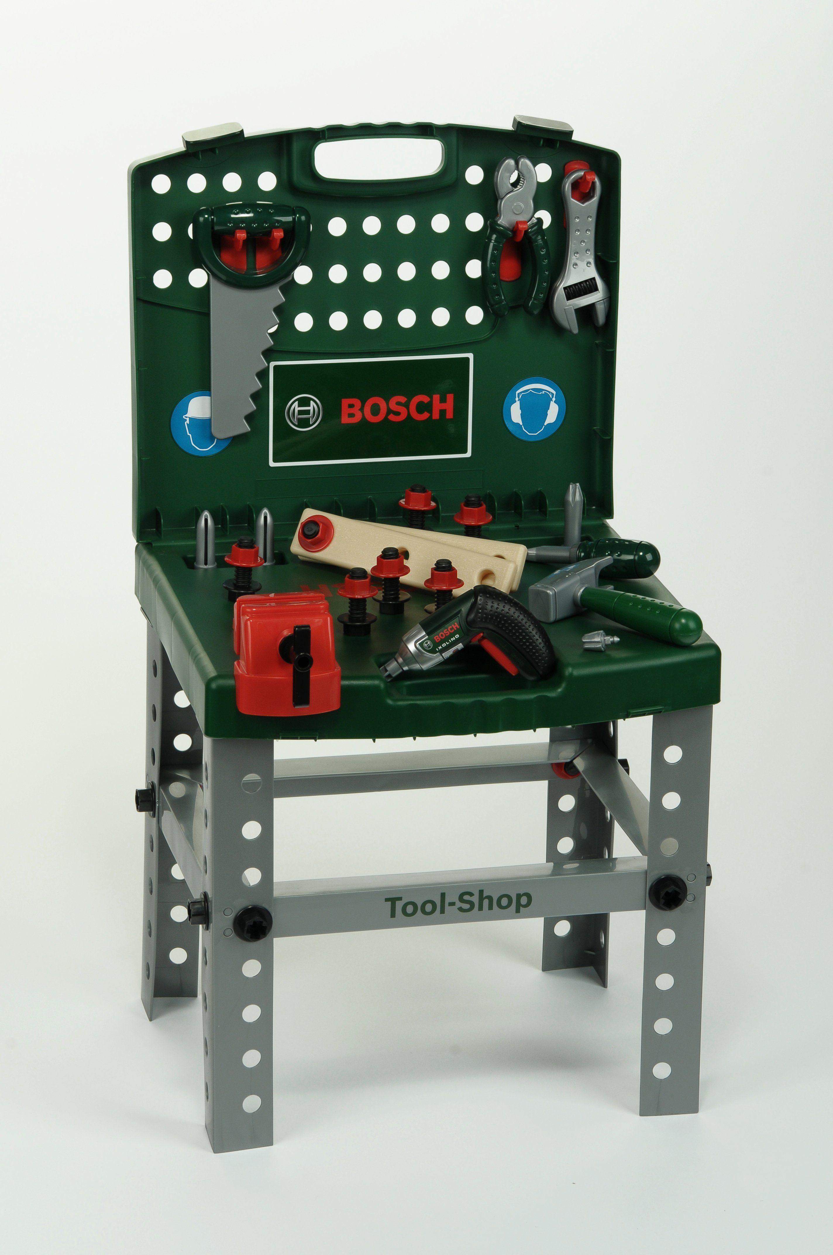 Klein Werktisch mit Akkuschrauber für Kinder, »Transportable Bosch Werkbank + Ixolino«