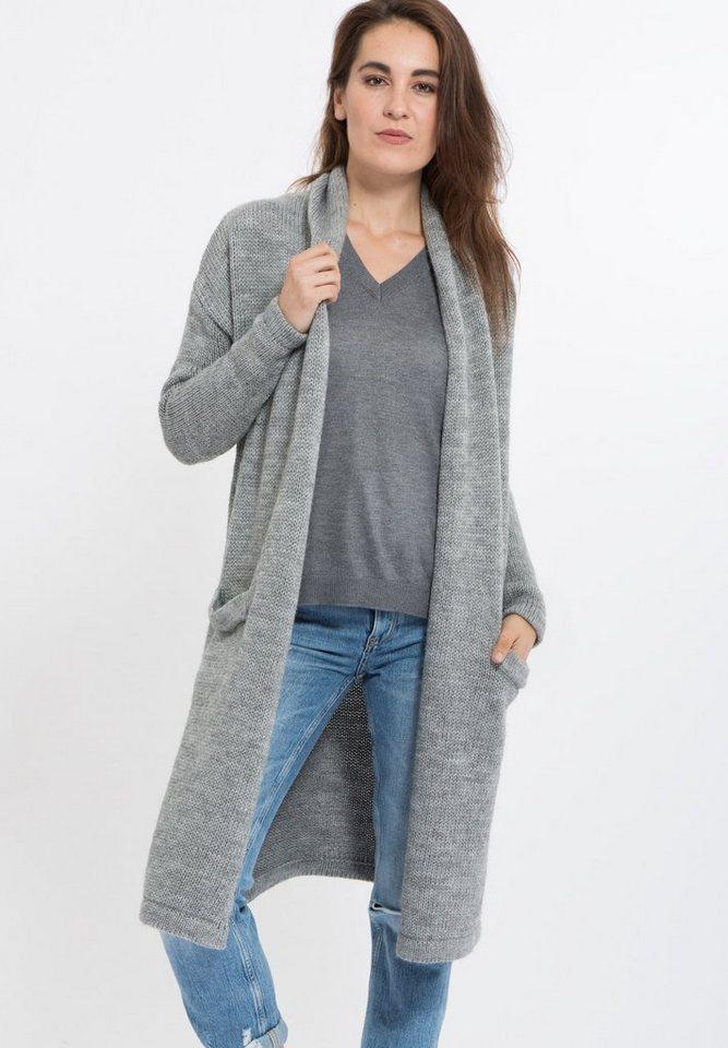 Mexx Strickmantel mit Schalkragen in grau