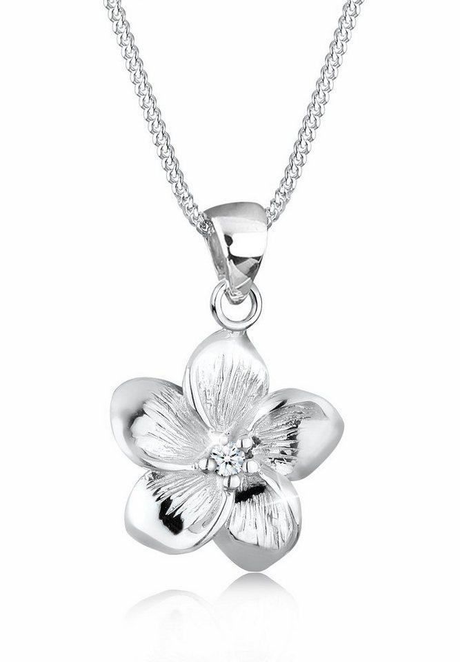 Elli Halskette »Frangipani Blüte Diamant 925 Silber« in Weiß