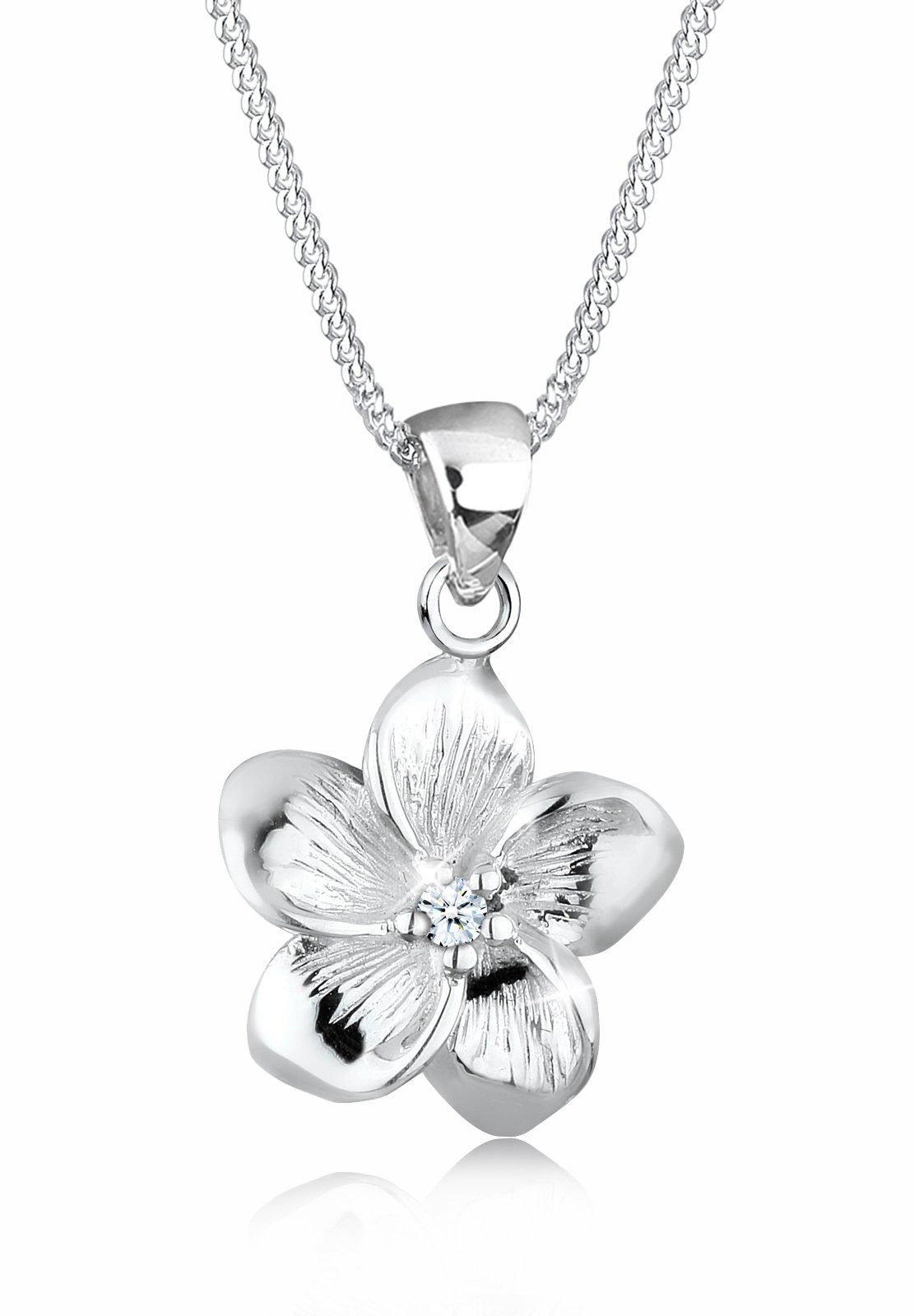 Elli Halskette »Frangipani Blüte Diamant 925 Silber«