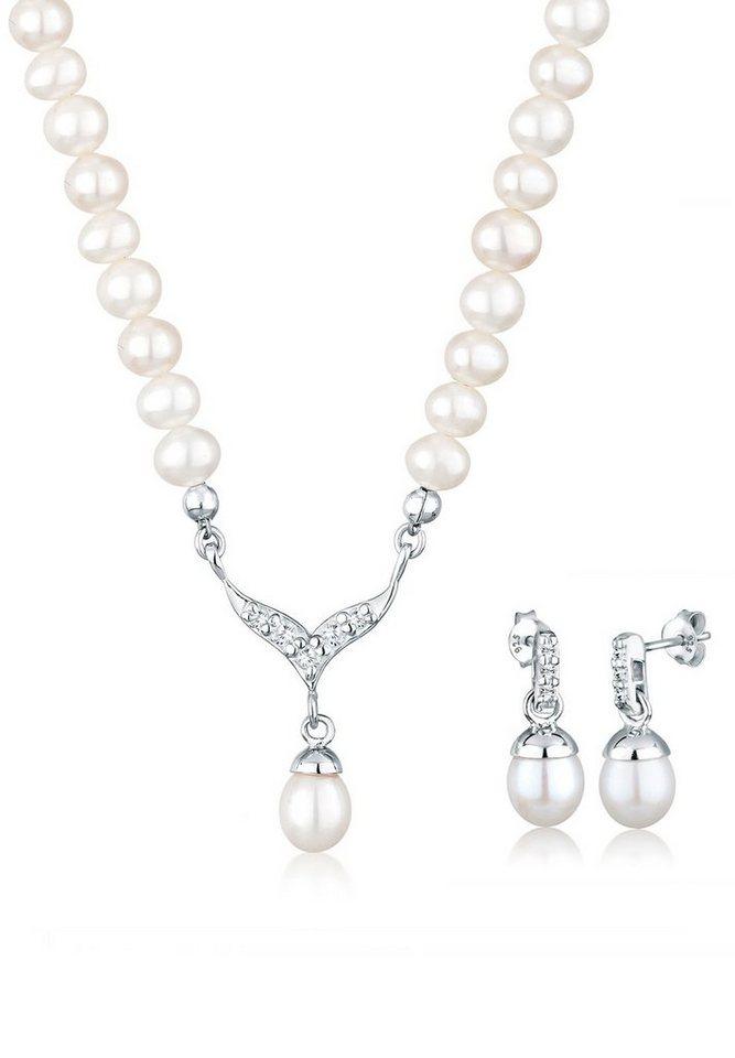 Perlu Set: Schmuckset »Süßwasserzuchtperle Swarovski Kristalle 925 Silber« 2 tlg. in Weiß