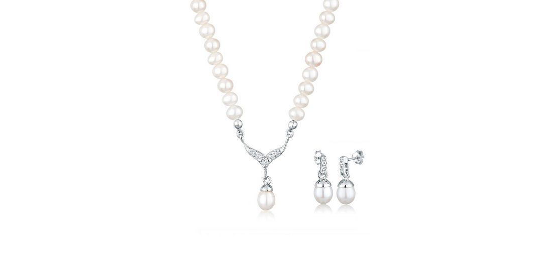Perlu Set: Schmuckset »Süßwasserzuchtperle Swarovski Kristalle 925 Silber« 2 tlg.