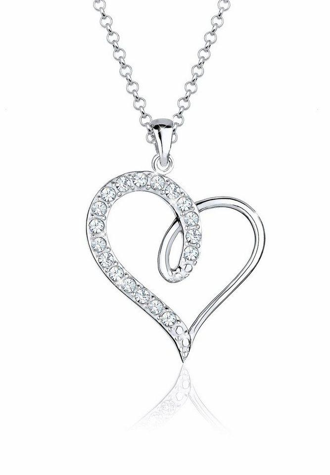 Elli Halskette »Herz Swarovski Kristalle 925 Sterling Silber« in Weiß
