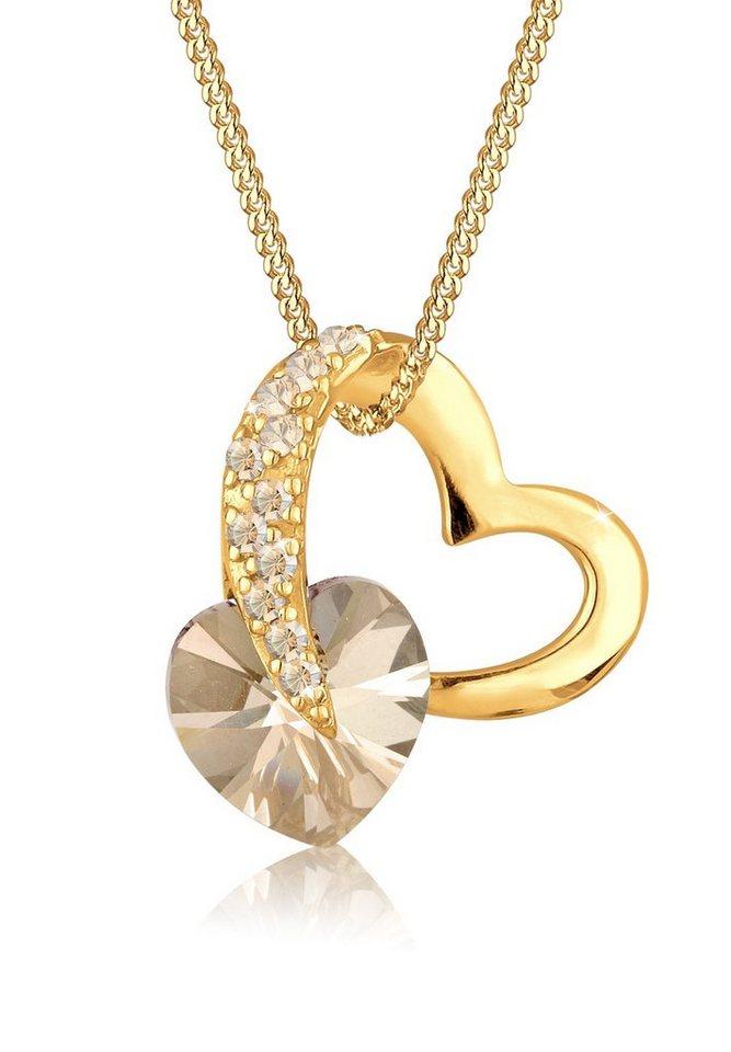 Goldhimmel Halskette »Herz Swarovski® Kristalle 925 Sterling Silber verg« in Gold
