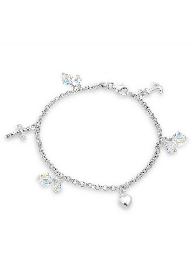 Elli Armband »Kreuz Herz Anker Swarovski Kristalle 925 Silber« in Silber